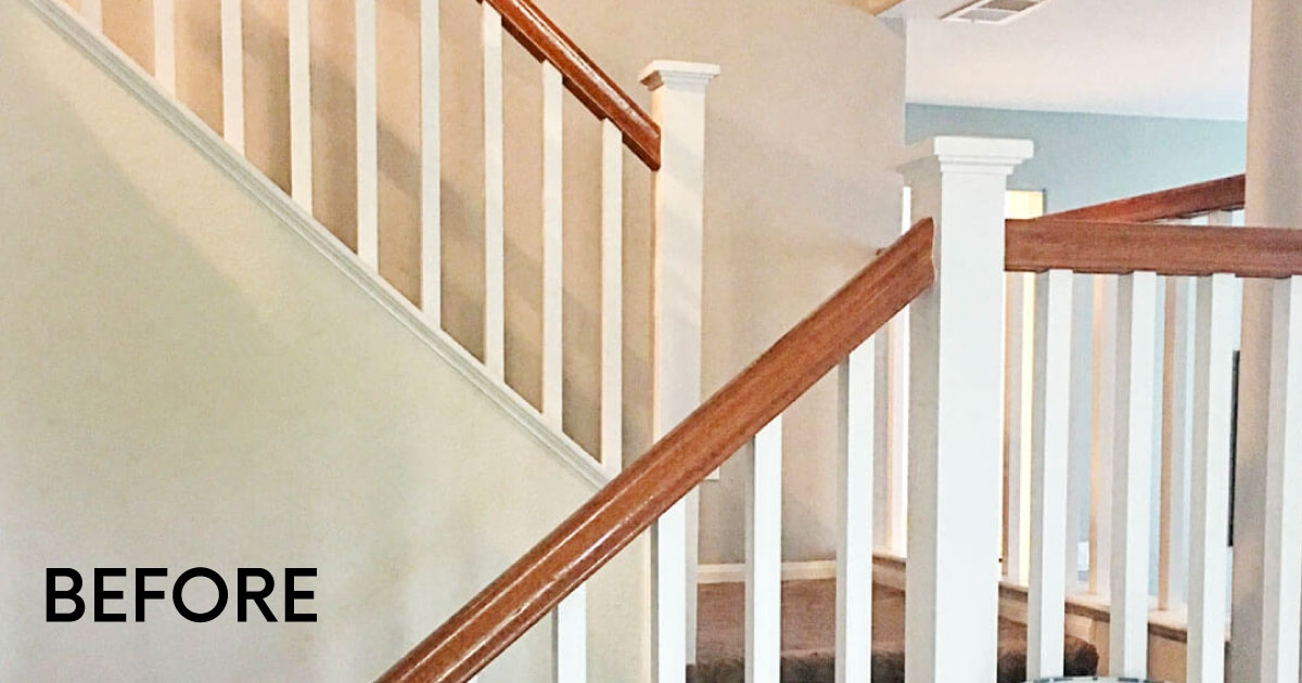 How To Paint Your Stair Railing And Banister Black From 30Daysblog | Wood And Painted Stairs | Diy | Before And After | Striped | Refinish | Oak