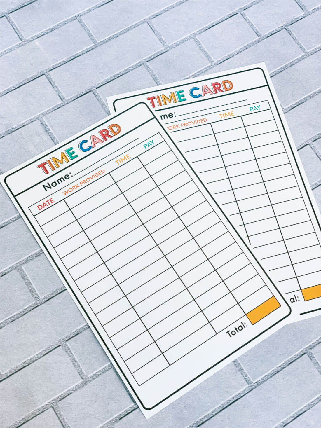 Chore List Idea Printable Time Card