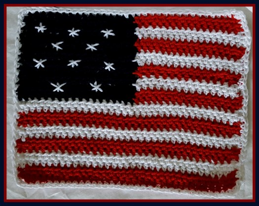 Patriotic Crocheted Dish Cloth