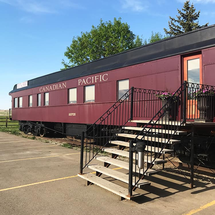The 1887 Diefenbaker Dining Car Restaurant at Aspen Crossing