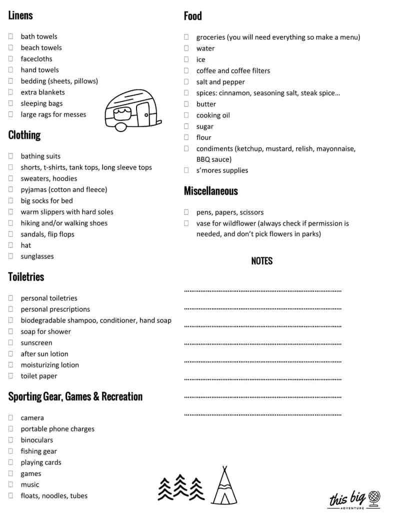 Camping Supplies Checklist