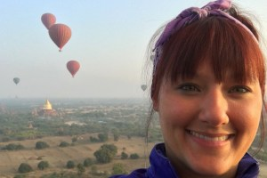 Image of me on an early morning hot air balloon ride over the temples of Bagan in Myanmar.