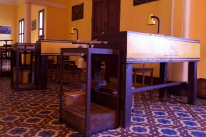 Image of stations where cigars are made inside the Mombacho Cigar factory in Granada, Nicaragua.