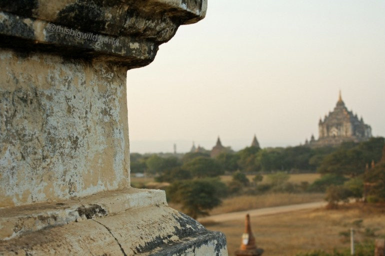 Image of temples in the distance in Bagan Myanmar.