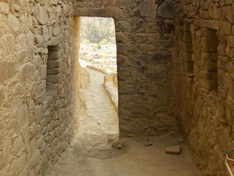 Image of a doorway in the ruins at Ollantaytambo near Cusco.