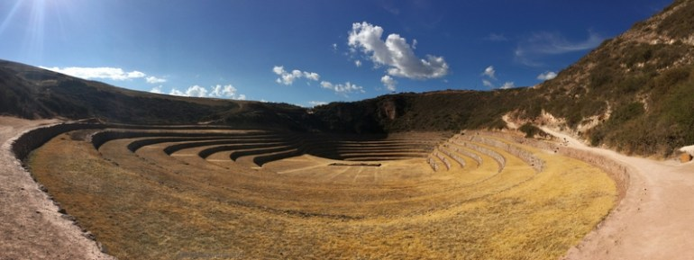 Panoramic image of ruins at Moray in the Sacred Valley near Cusco, Peru.