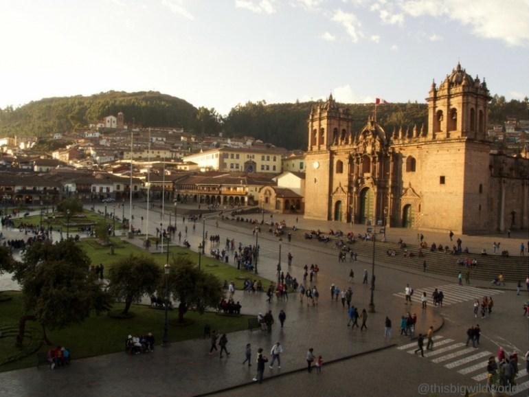 Image of the sun setting over Plaza de Armas in the heart of Cusco, Peru.