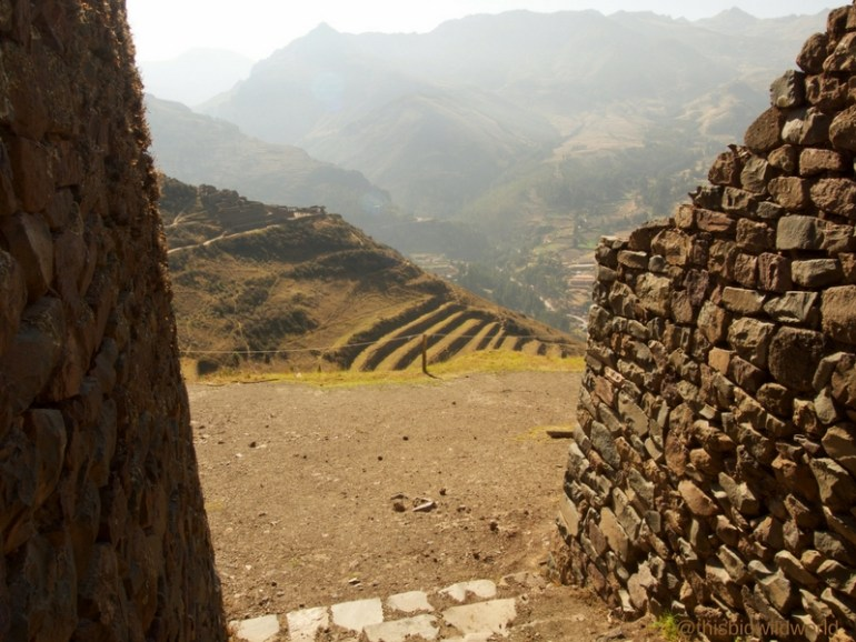 Image of walking through the ruins at Pisac near Cusco.