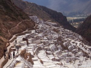 Image of salt plots at Salineras de Maras in the Sacred Valley near Cusco Peru.