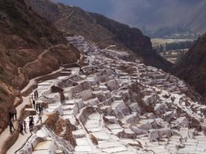 Image of salt plots at Salineras de Maras in the Sacred Valley near Cusco Peru.