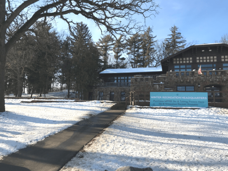 Image of ski chalet at Theodore Wirth Park in Minneapolis Minnesota.