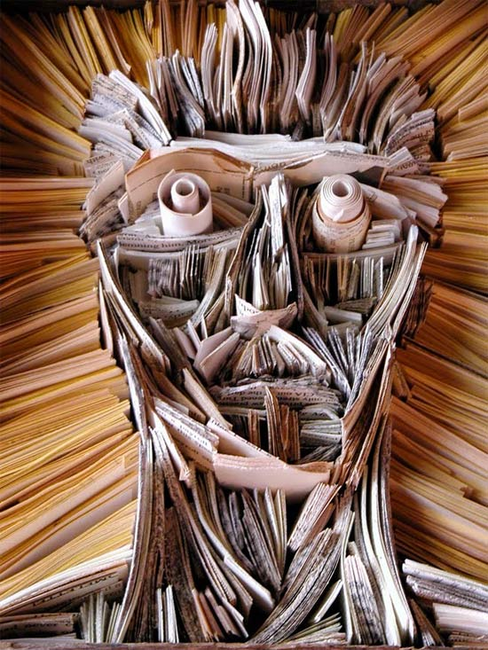 newspaper-sculpture-face