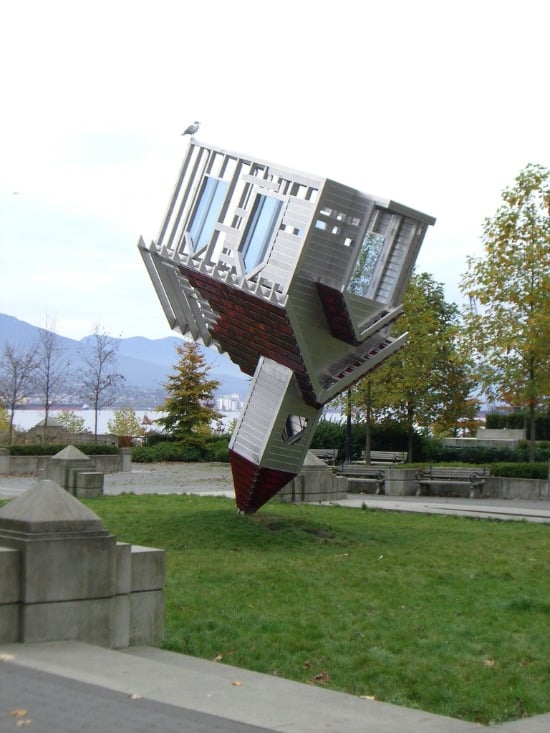 Upside-Down House Sculpture
