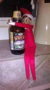 Elf on a shelf drinking beef