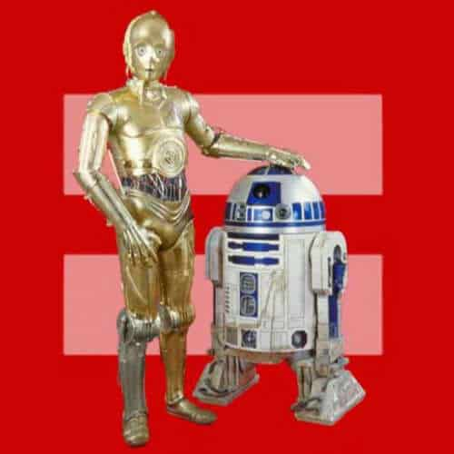 Versions of the Equal Rights Symbol on Facebook, C-3P0 and R2D2 Parody