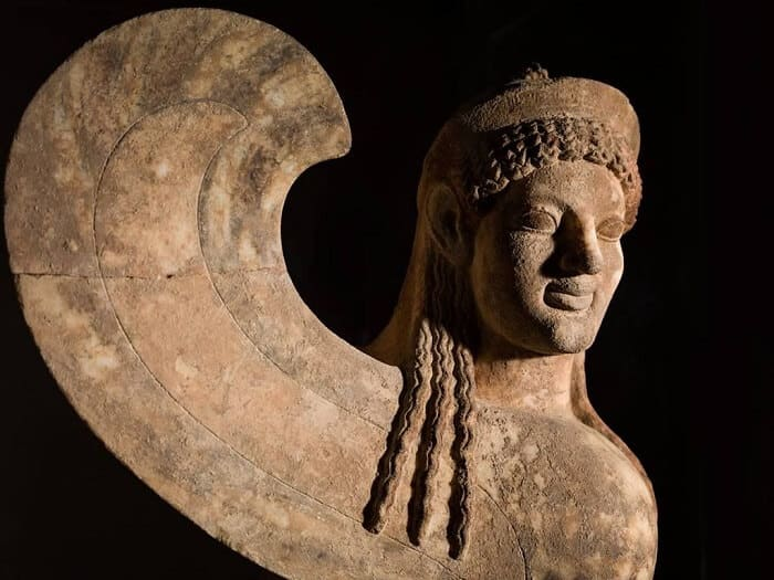 Greek (Attic) marble capital and finial in the form of a sphinx
