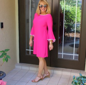 #Hot pink dress with bell sleeves