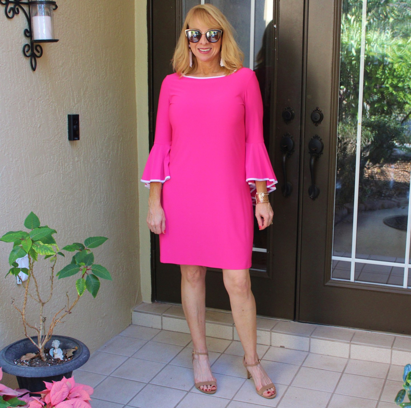 #Hot pink bell sleeve dress