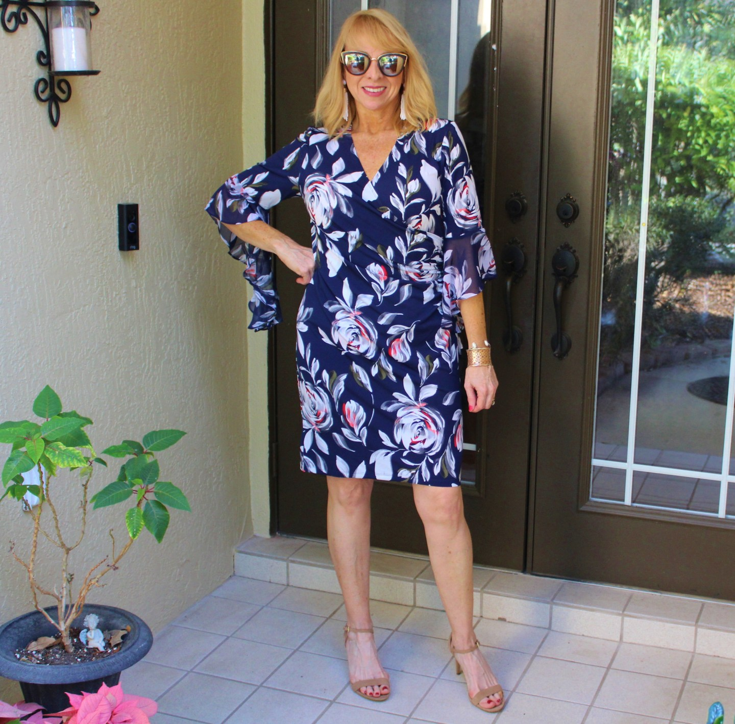 #Floral Dress with Bell Sleeves