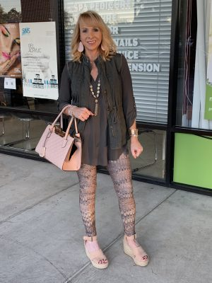 leggings and olive blouse