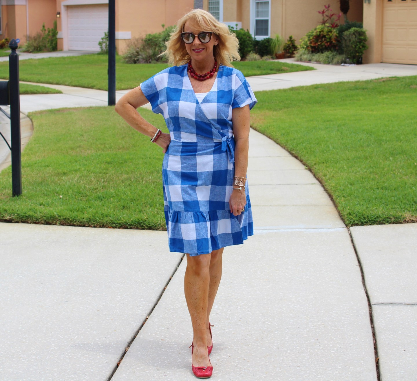 Old Navy Blue and White Gingham Dress