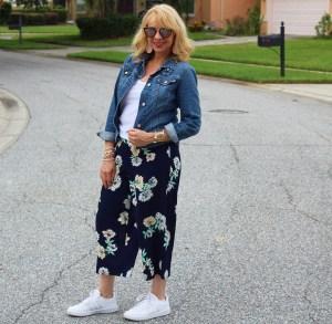 Floral Cropped Wide Leg Pants and Denim Jacket