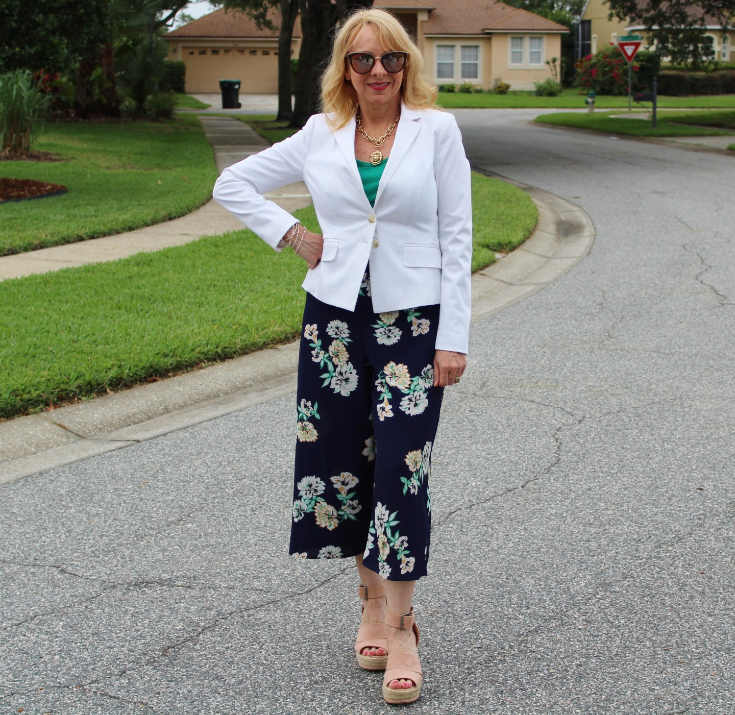 White Blazer and Floral Wide Leg Pants