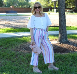Striped Pants and White Eyelet Blouse