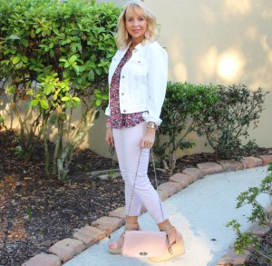 Target Sleeveless Blouse and White Denim Jacket