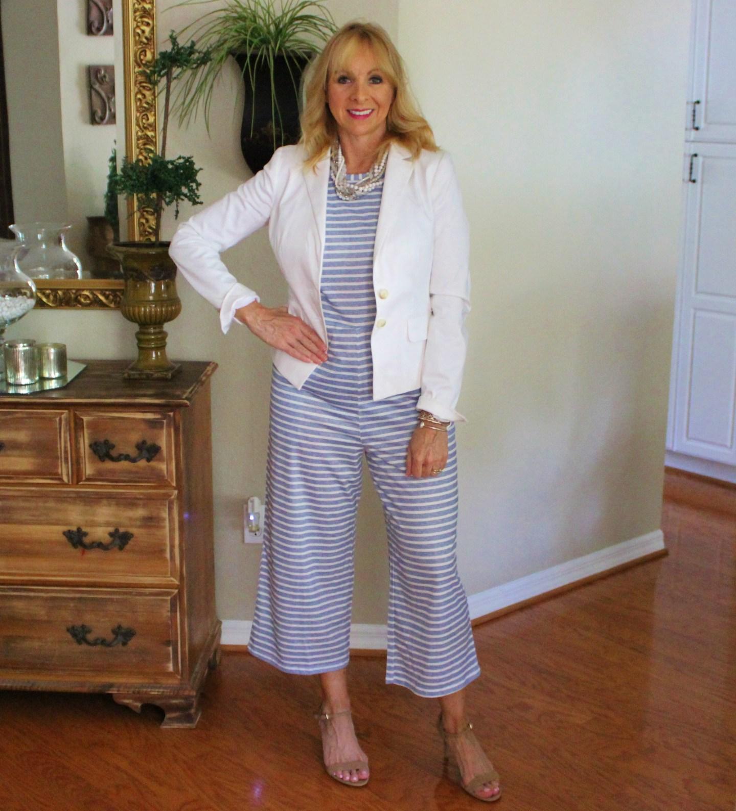 Striped jumpsuit & White Jacket
