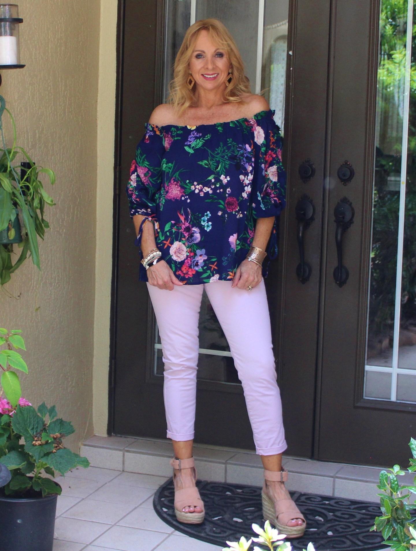 Fashom OTS Blue Floral Top + Pink Pixie Pants