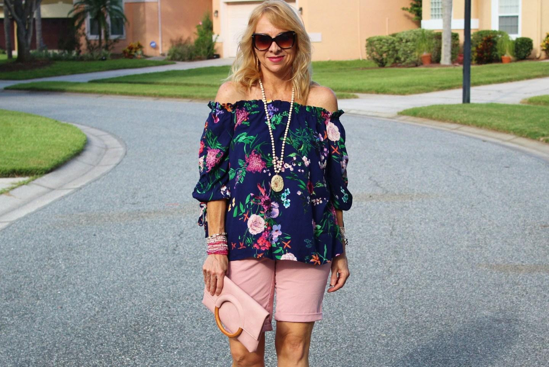 Fashom OTS Top + Pink Loft Shorts