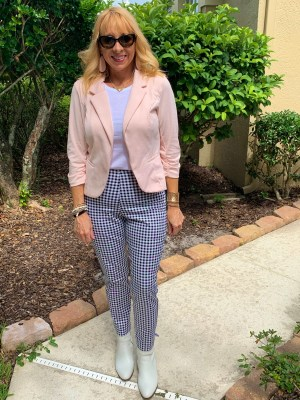 Cropped blazer + Gingham pants