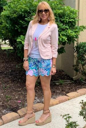 Cropped blazer + Lilly Pulitzer shorts