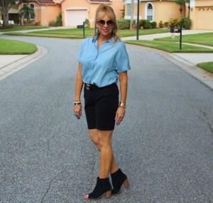 Denim top + Black Shorts