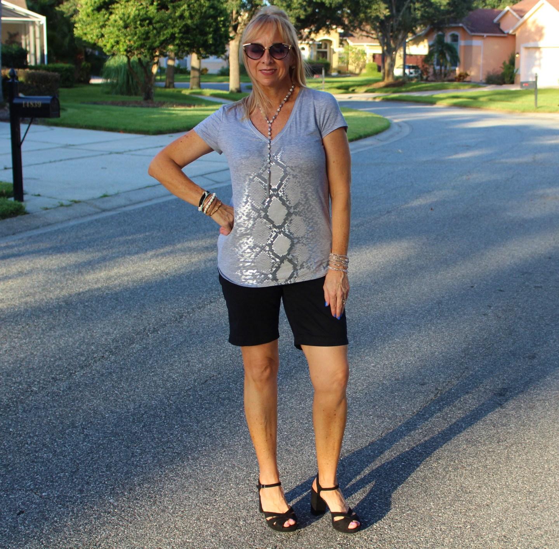 Snakeskin Top + Black Shorts