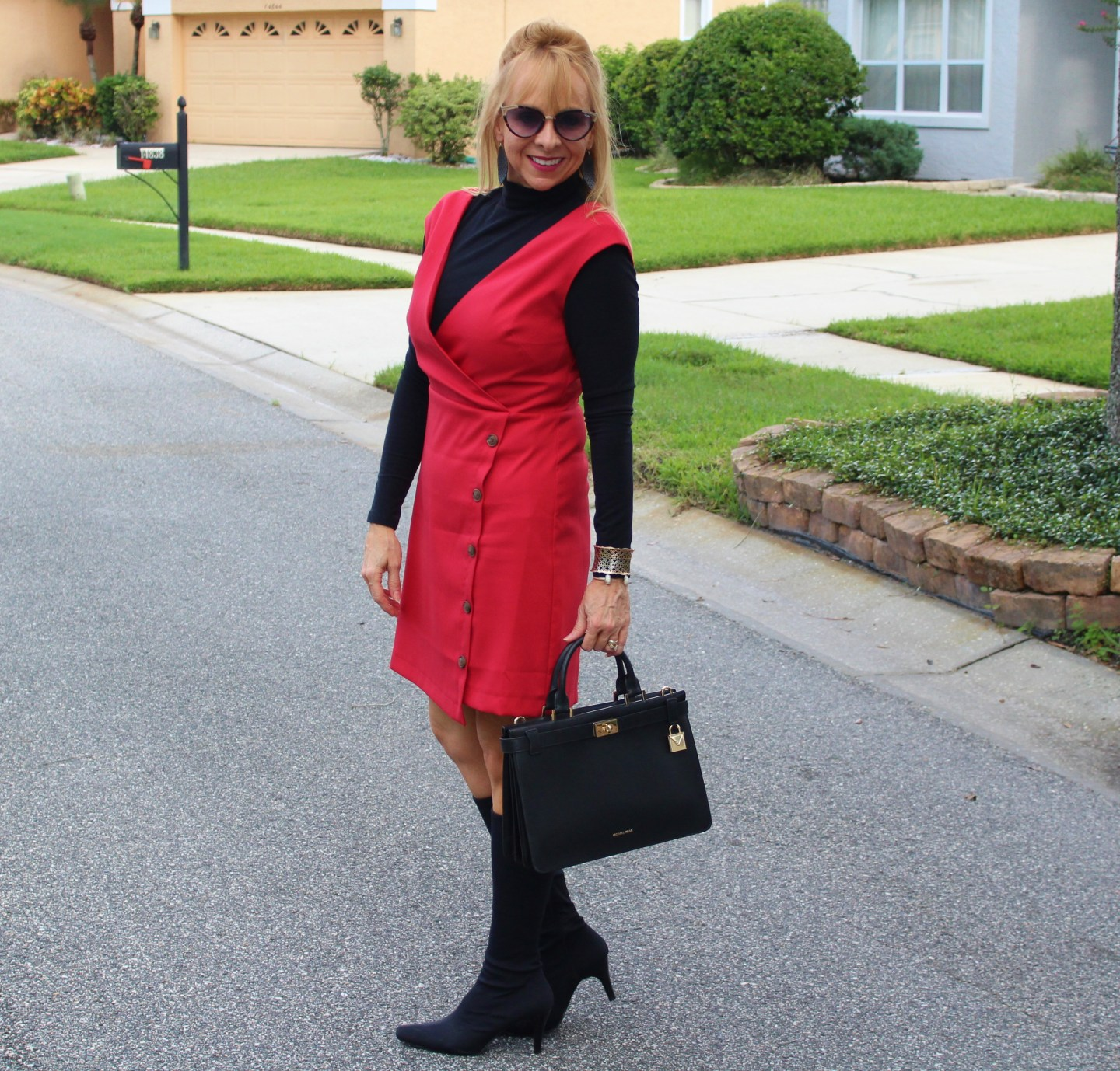 Red Dress + Black Turtleneck