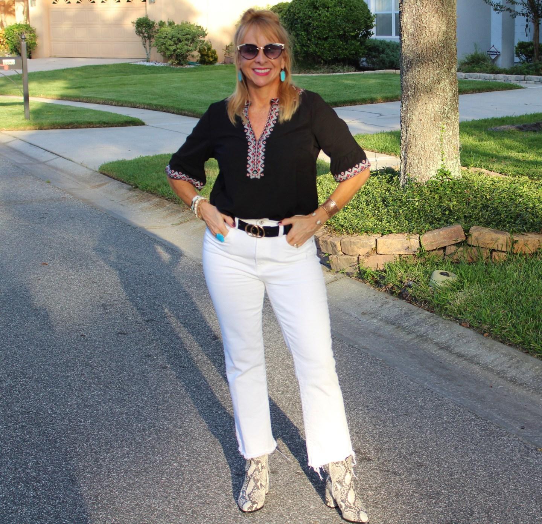 Boho Top + White Jeans+ Snake Skin Booties