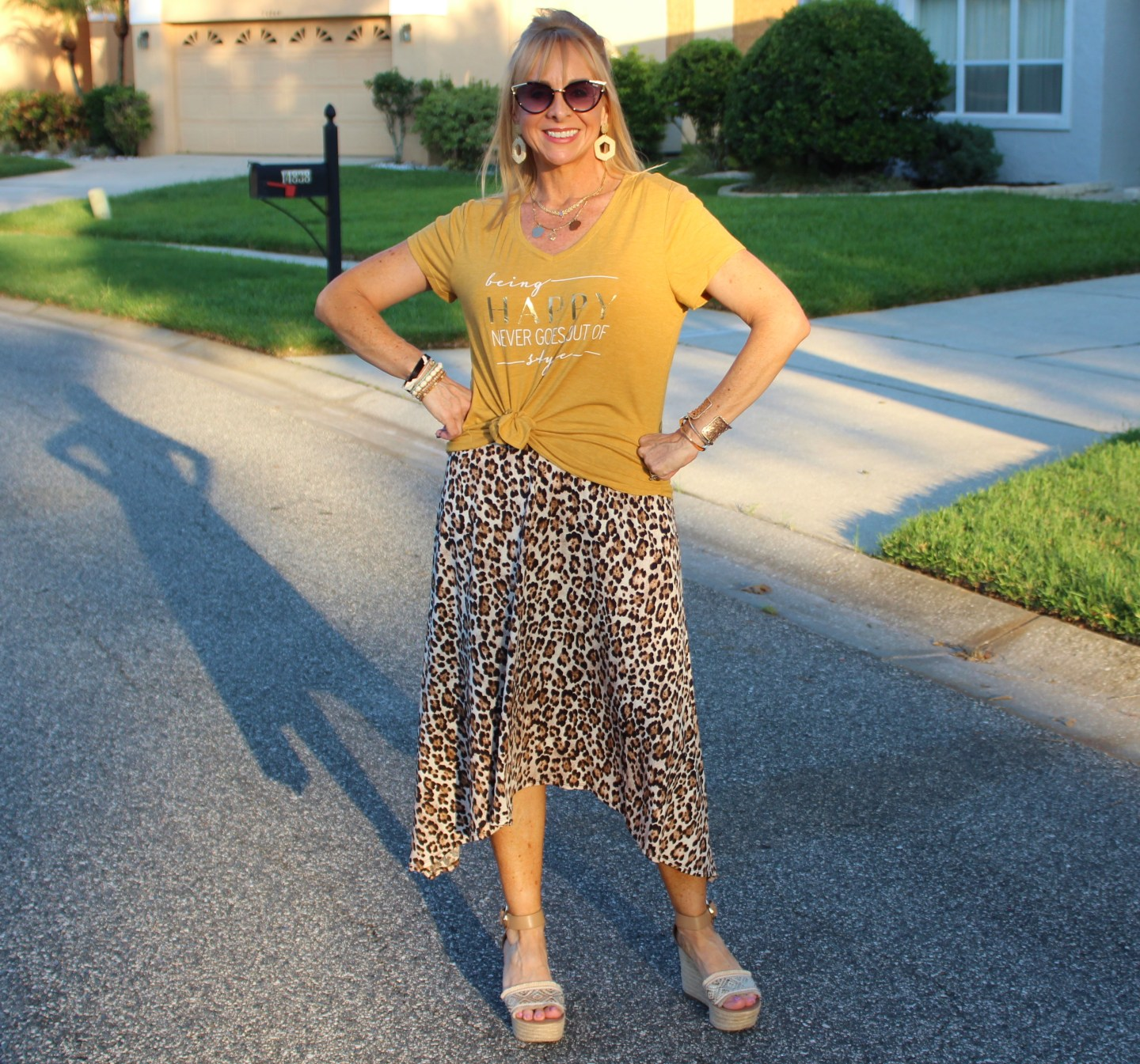 Leopard skirt + Graphic tee
