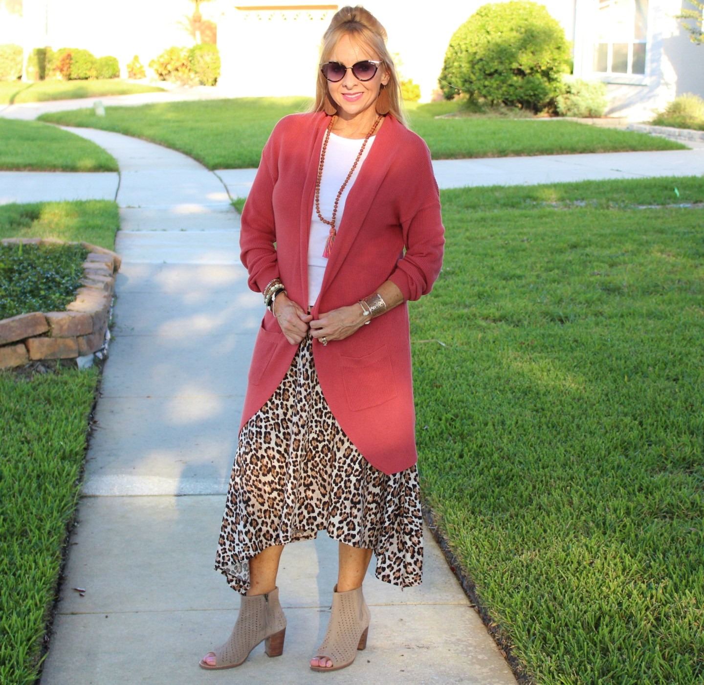 Leopard skirt + Long Cardigan