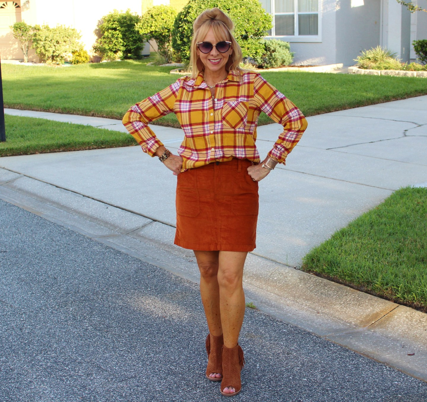 Plaid Shirt + Corduroy Skirt