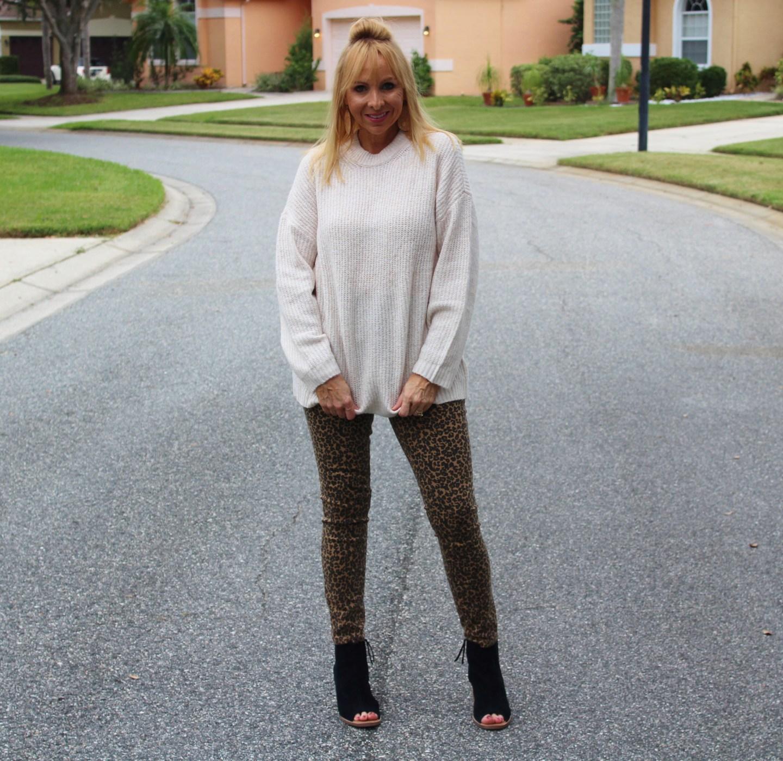 Sweater + Leopard Jeans