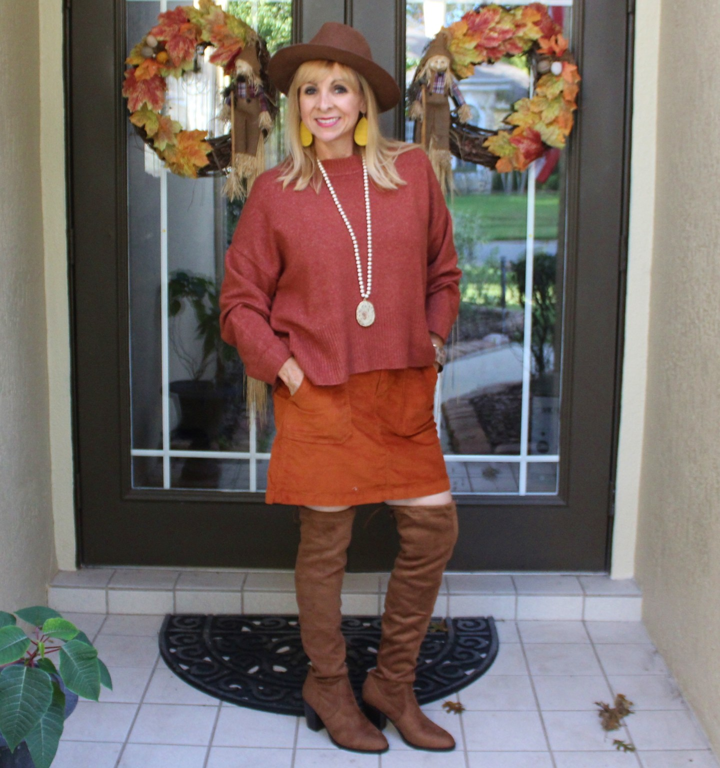 Rust sweater + Corduroy Skirt + OTK boots + Boho Hat