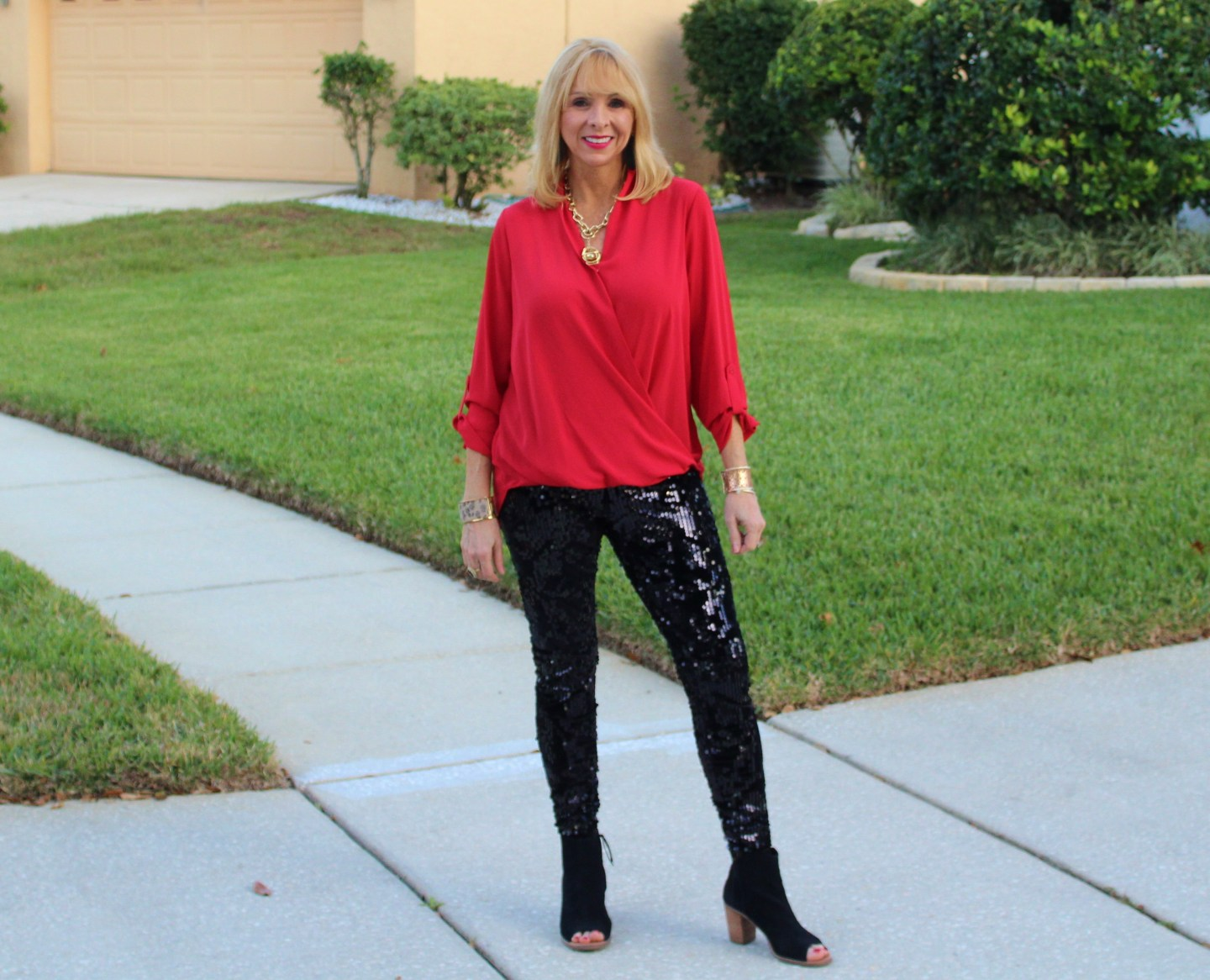 Sequin Leggings + Wrap Blouse + Open Toe Booties
