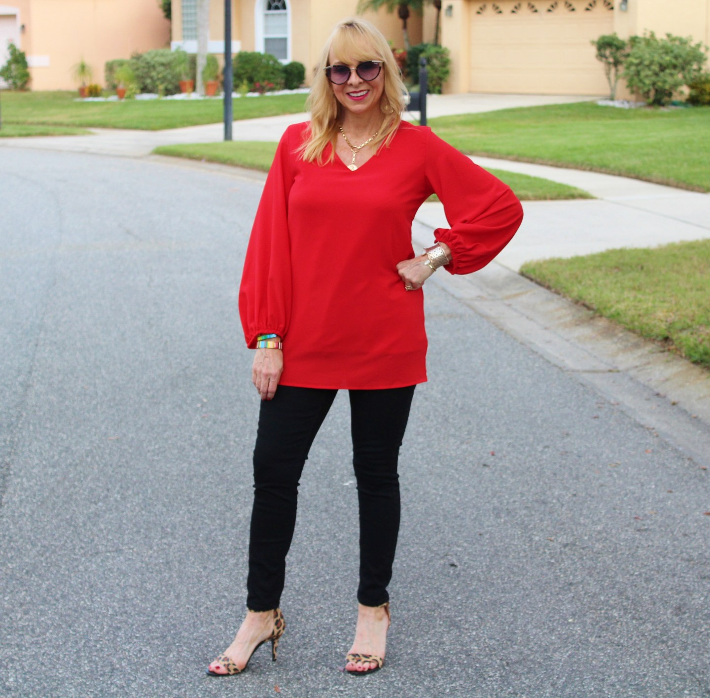 Red Blouse + Black Denim + Leopard Heels