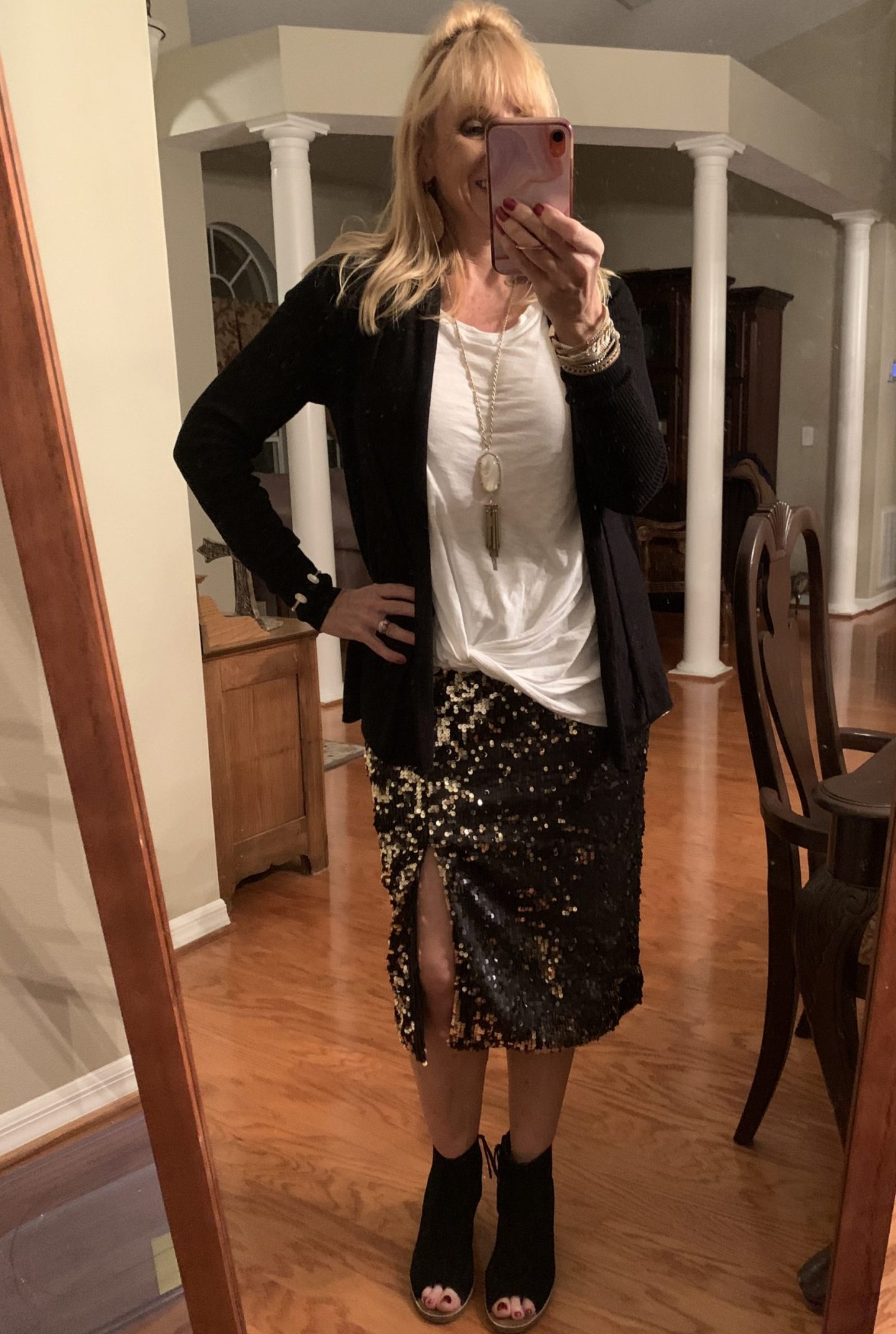 Sequin Pencil Skirt + Cardigan + Twist Front Tee + Open Toe Booties
