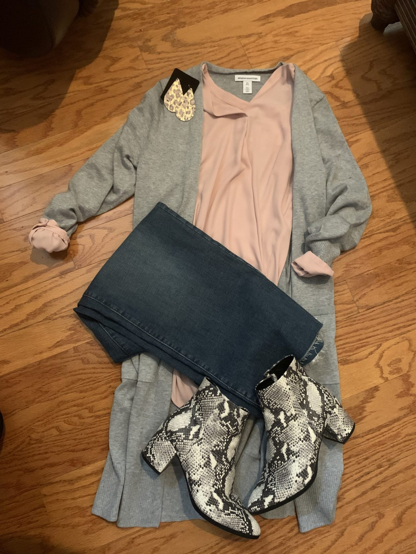 Grey cardigan + Blush Blouse + Denim + Snakeskin booties