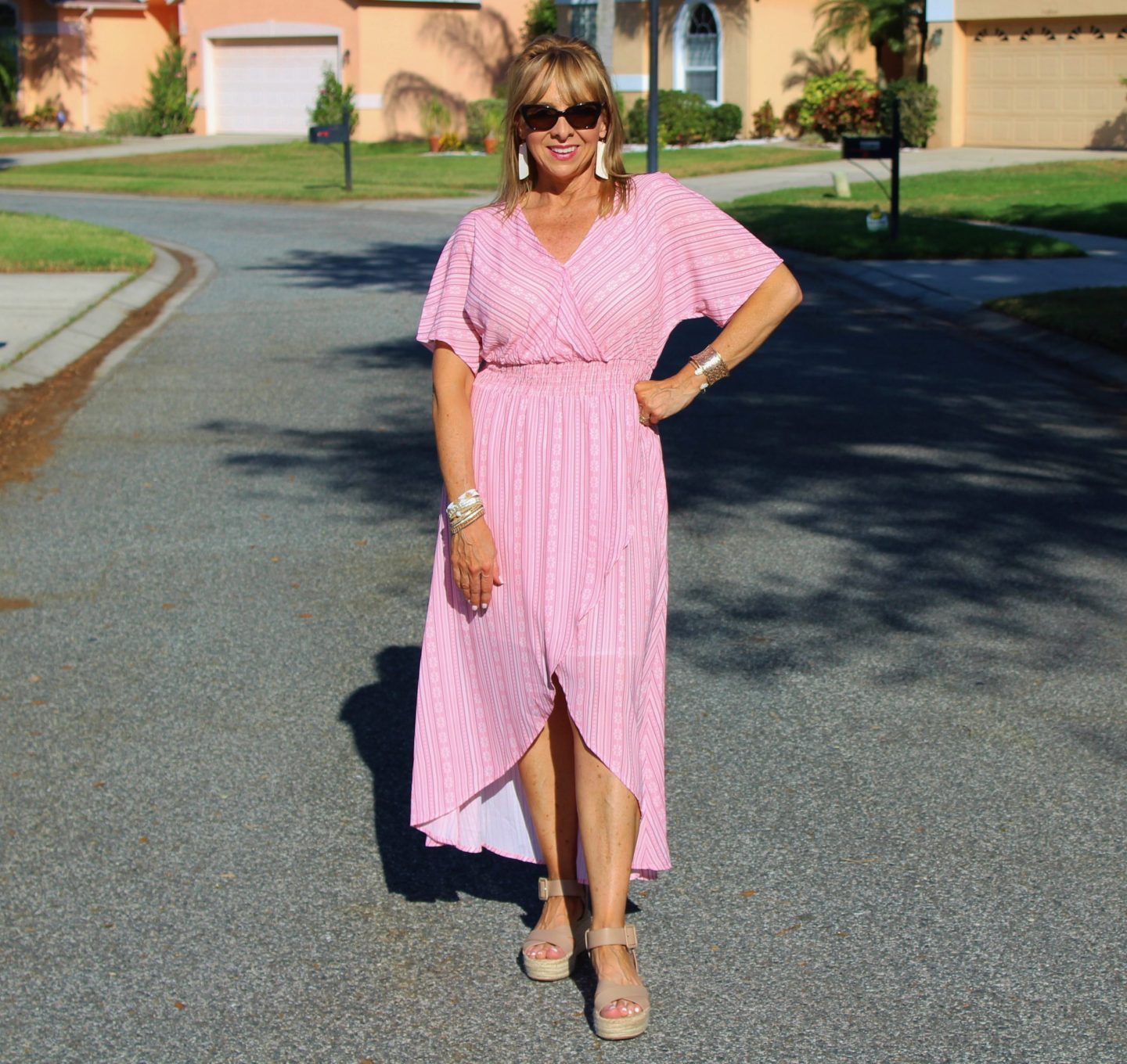 Amazon hi-lo pink dress
