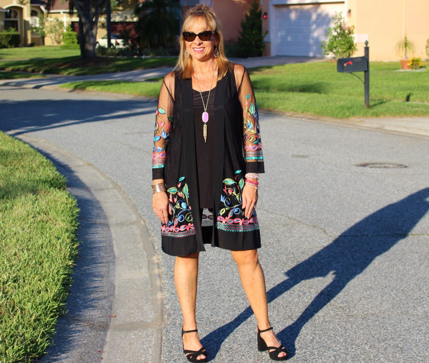 Black duster + Short + Black Heeled Sandal