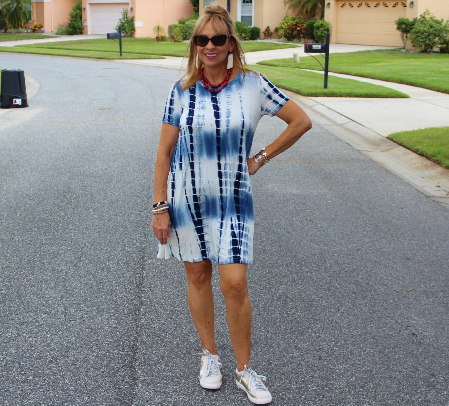 Tie Dye Dress + Sneakers